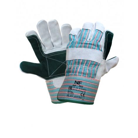 Усиленные спилковые комбинированные перчатки