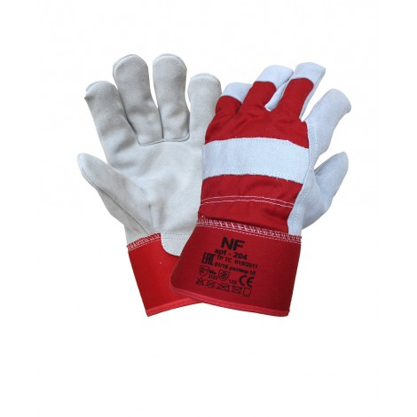 Спилковые утепленные перчатки