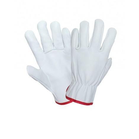Перчатки кожаные белые DRIVER